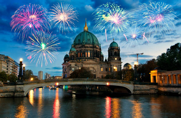 Fireworks over Berliner Dom (Berlin cathedral), Germany Fireworks over Berliner Dom (Berlin cathedral), Germany gendarmenmarkt stock pictures, royalty-free photos & images