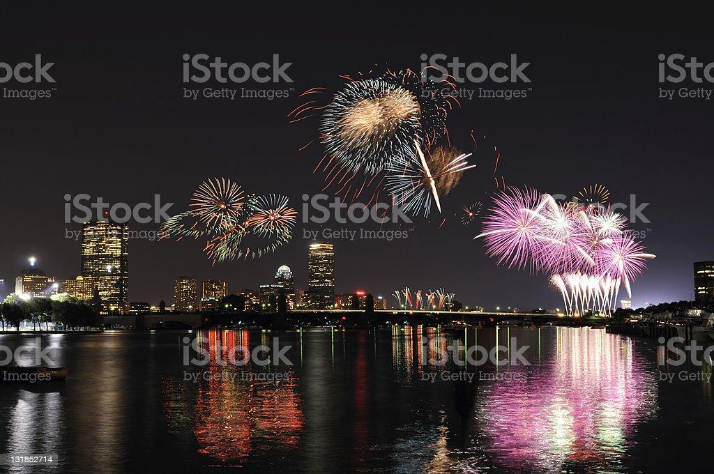 Fireworks over Boston - Royalty-free Architecture Stock Photo