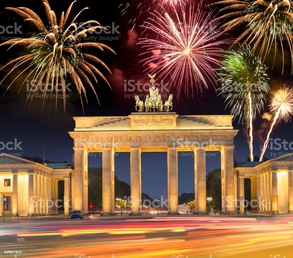 fireworks over brandenburger tor in berlin germany for happy new year royalty free stock photo