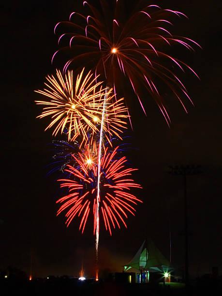 Fireworks over Celebration Park in Allen Texas stock photo