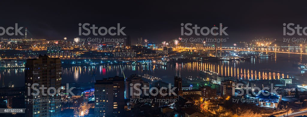 Fireworks over city. stock photo