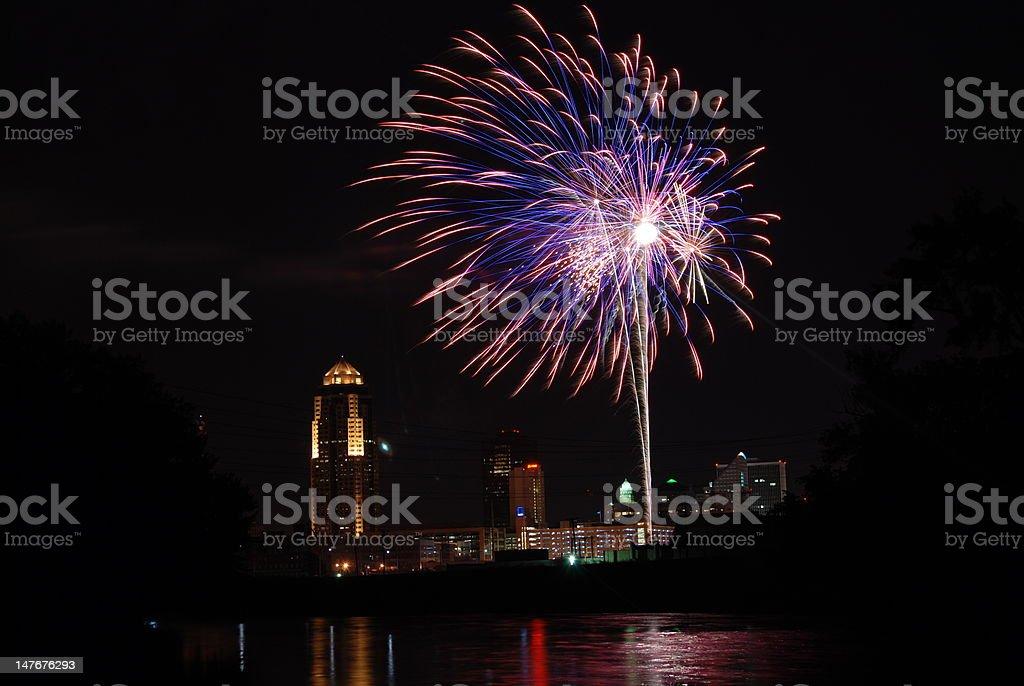 Fireworks Over Des Moines Iowa stock photo