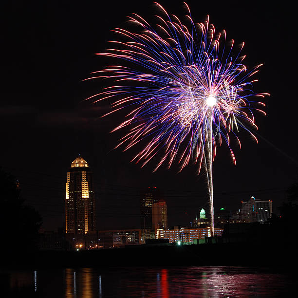 Fireworks over Des Moines Iowa stock photo