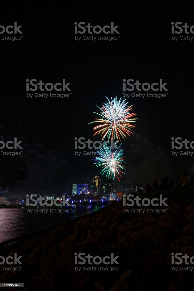 Fireworks Over Des Moines stock photo