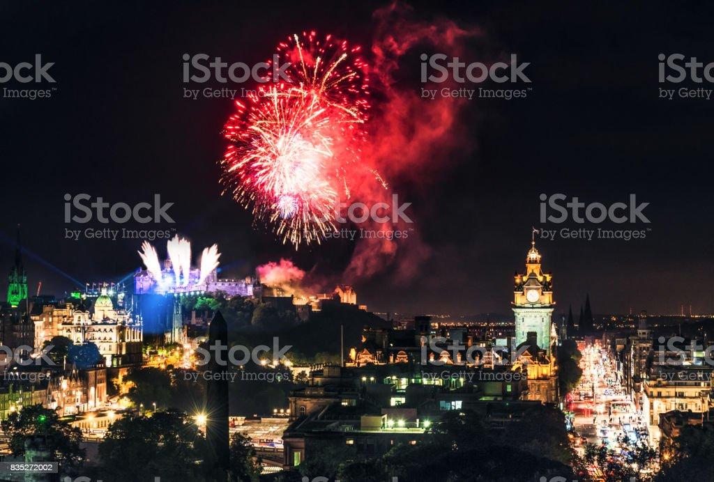 Fireworks over Edinburgh's skyline stock photo