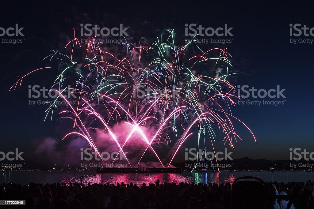 Fireworks over English Bay royalty-free stock photo