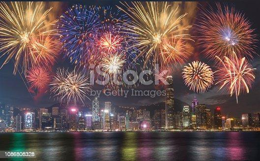 Fireworks display at Hong Kong Victoria Bay on Chinese New Year Celebration