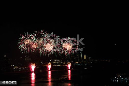 New York, February 17, 2015 - Fireworks over Hudson River in celebration of Chinese New Year.