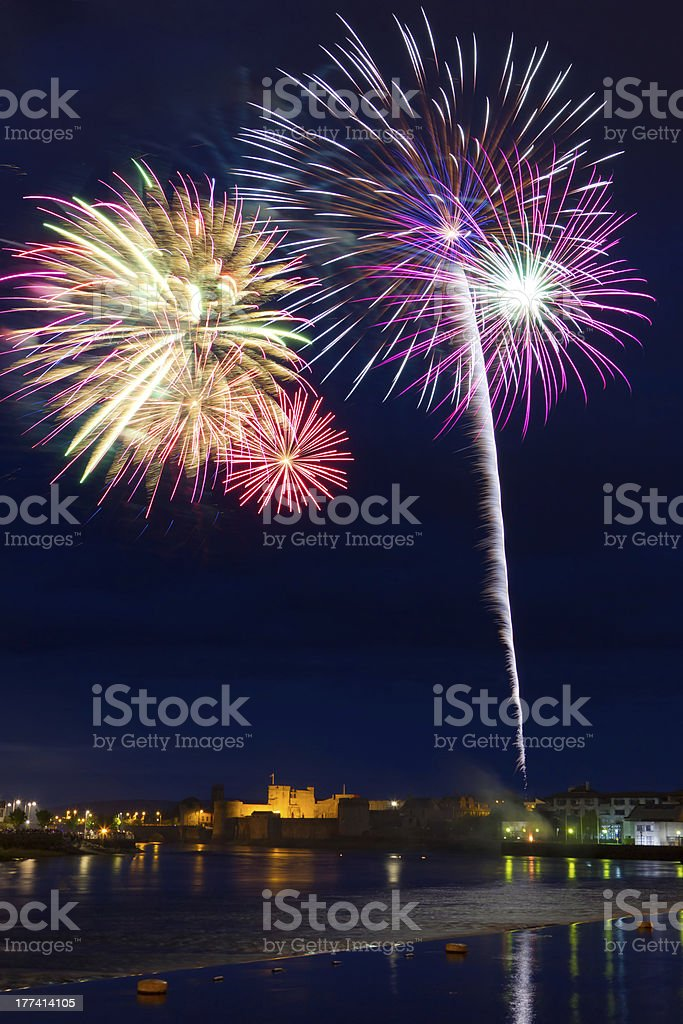 Fireworks over in Limerick stock photo