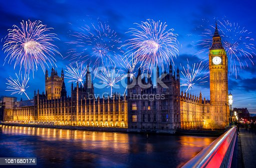 Fireworks illuminate the sky over Londons Houses of Parliament. London, the capital of England and the United Kingdom, is a 21st-century city with history stretching back to Roman times. At its centre stand the imposing Houses of Parliament, the iconic 'Big Ben' clock tower and Westminster Abbey, site of British monarch coronations. Across the Thames River, the London Eye observation wheel provides panoramic views of the South Bank cultural complex, and the entire city.