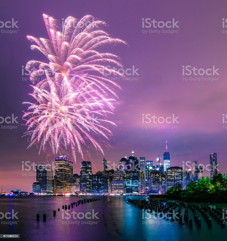 Fireworks over lower Manhattan stock photo