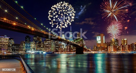 istock Fireworks over Manhattan, New York City. 952065128