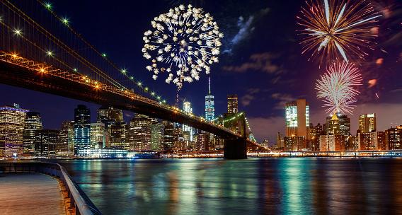 istock Fireworks over Manhattan, New York City. 952065128