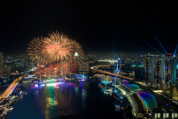 Fireworks over Marina Bay stock photo