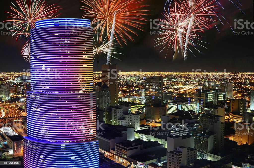 Fireworks Over Miami royalty-free stock photo