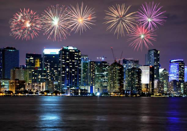 Fireworks over Miami skyline, USA stock photo