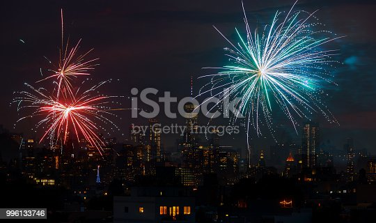 525385459 istock photo Fireworks over New York City celebrating USA Independence Day 996133746