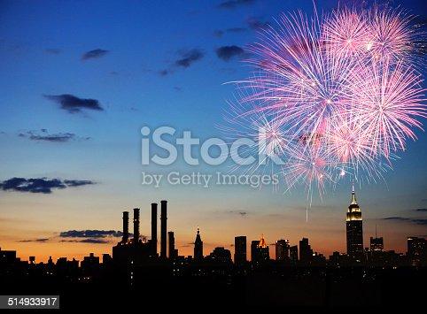 istock Fireworks over New York City 514933917