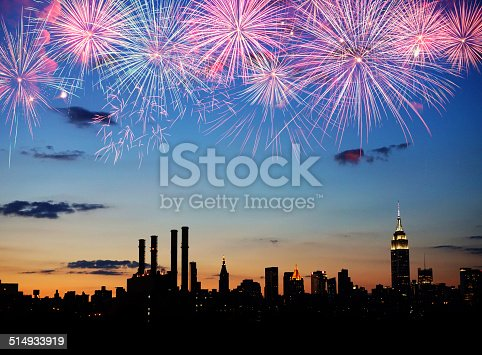 istock Fireworks over New York City 514933919