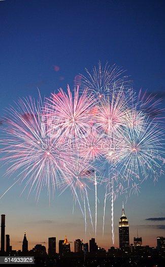 istock Fireworks over New York City 514933925