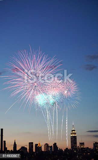 istock Fireworks over New York City 514933927