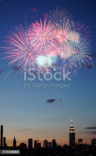 istock Fireworks over New York City 515456653