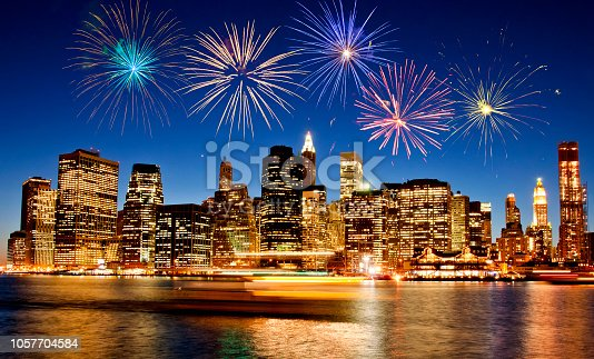 istock Fireworks over New York City skyline 1057704584