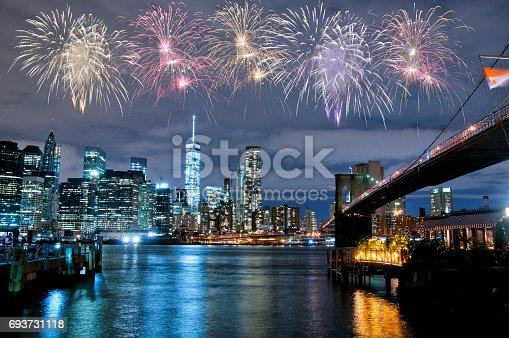 istock Fireworks over New York City skyline 693731118