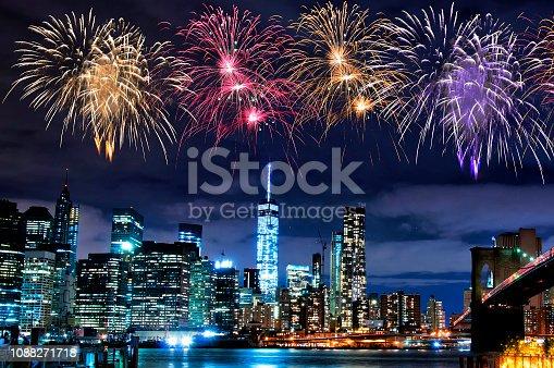istock Fireworks over New York City skyscrapers 1088271718