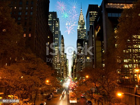istock Fireworks over New York City skyscrapers 883163848