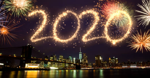 2020 Fireworks over New York stock photo