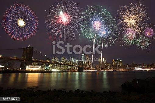 istock Fireworks over New York 846710772