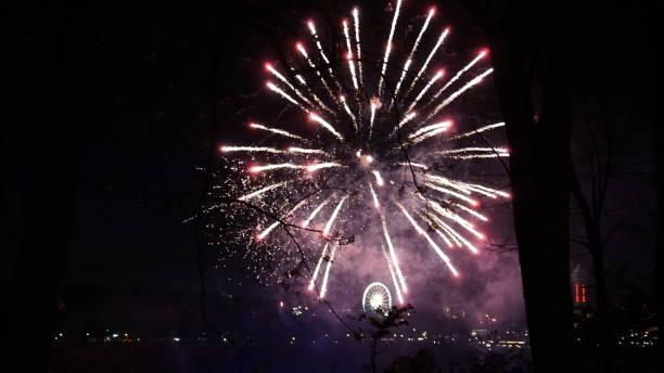 Fireworks over Niagara Falls stock photo