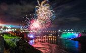 Fireworks over Niagara Falls, Canada.