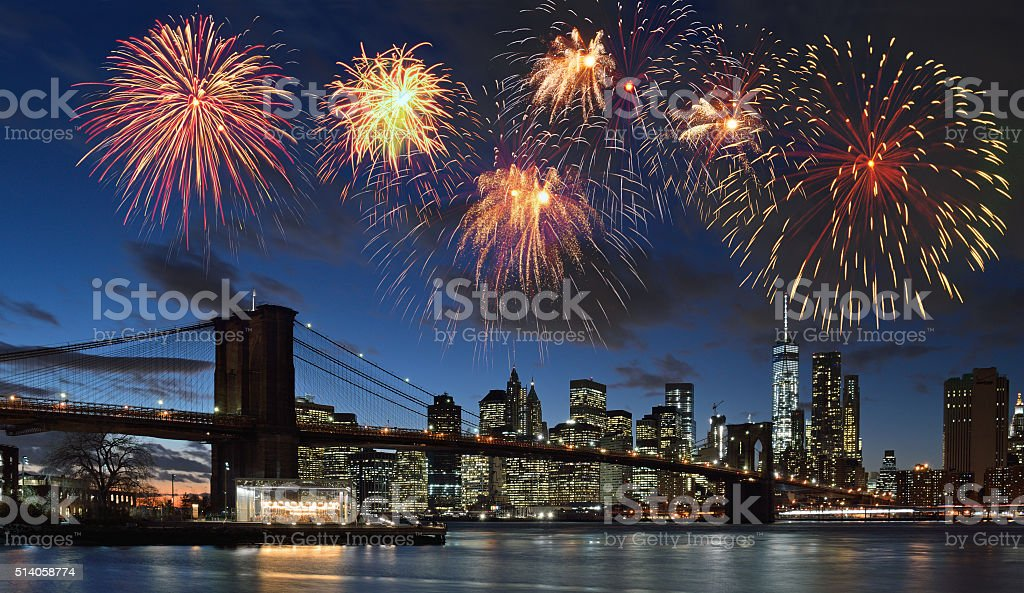 Fireworks over NYC. stock photo