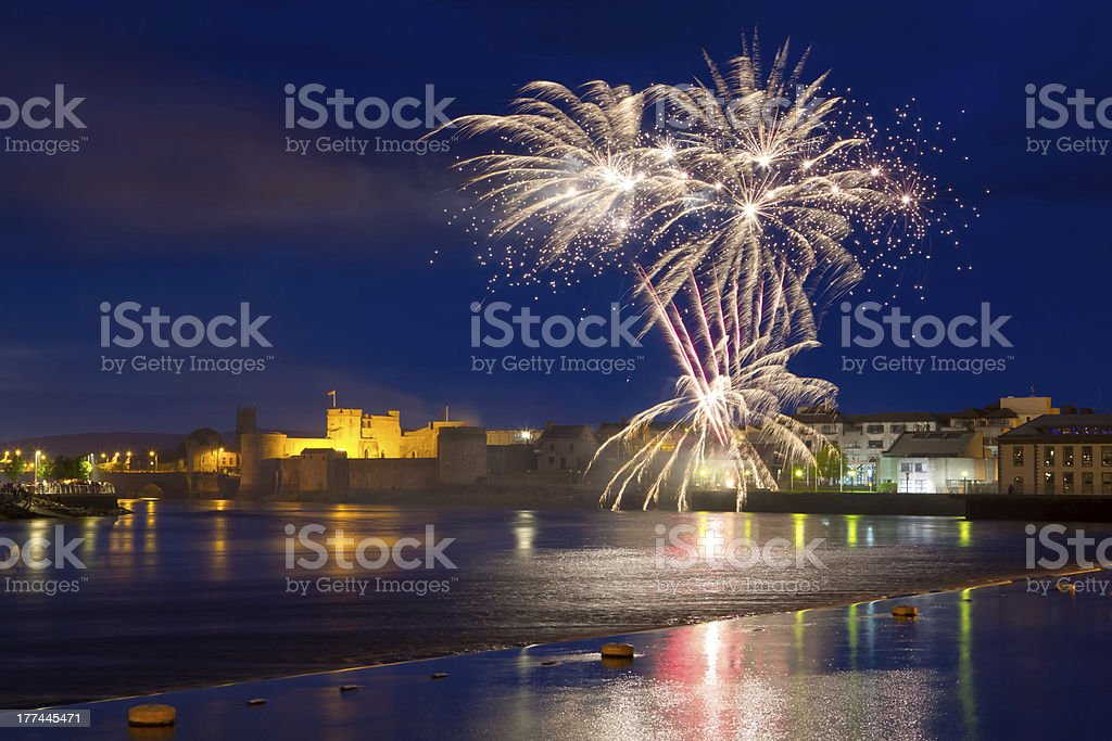 Fireworks over Shannon river in Limerick stock photo