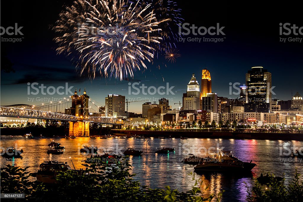 Fireworks Over Skyline royalty-free stock photo