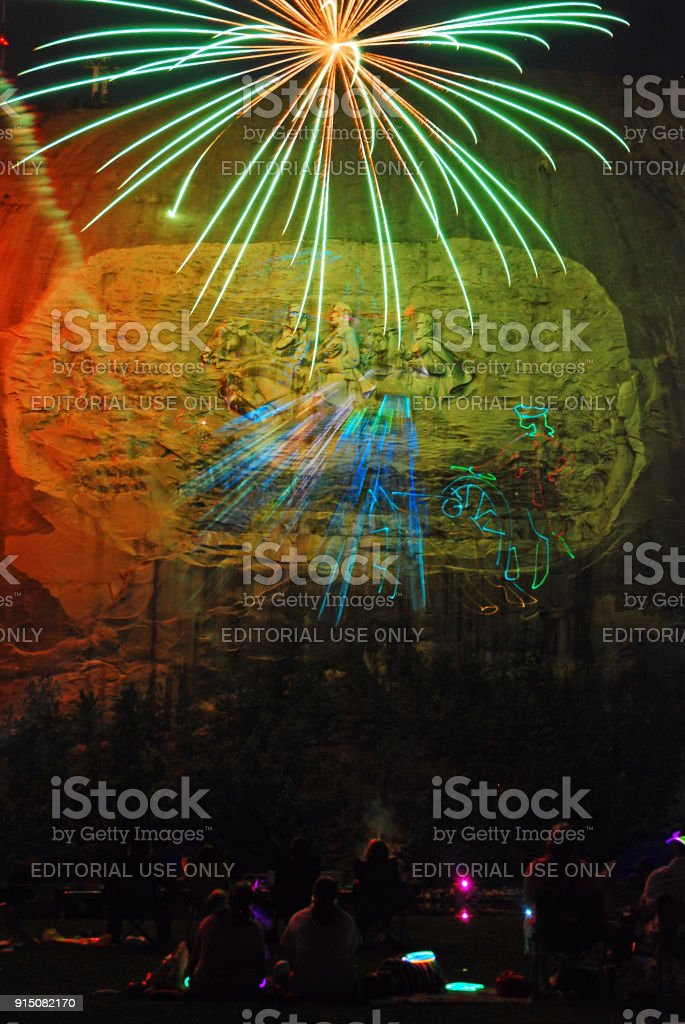 fireworks over stone mountain stock photo more pictures of above