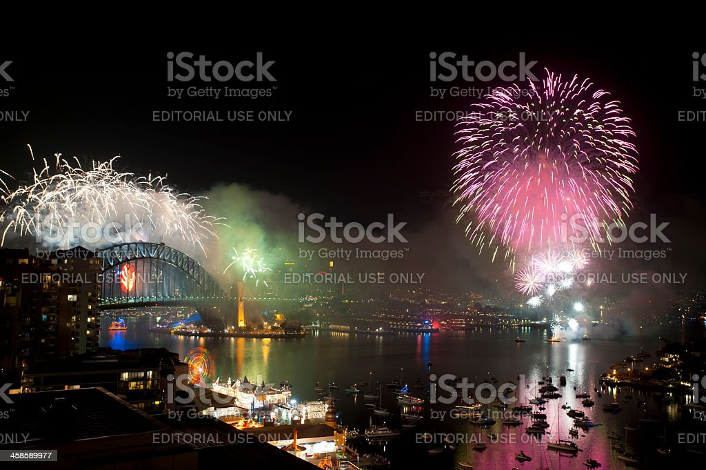 Fireworks over Sydney Harbour royalty-free stock photo