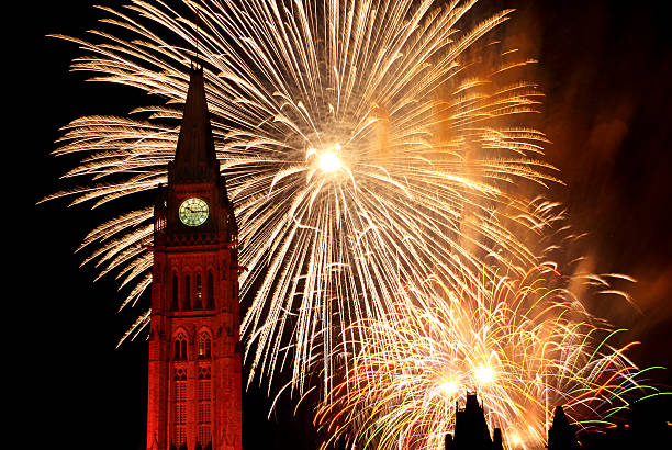 fireworks over the canadian parliament, ottawa on canada day - canada day stock pictures, royalty-free photos & images