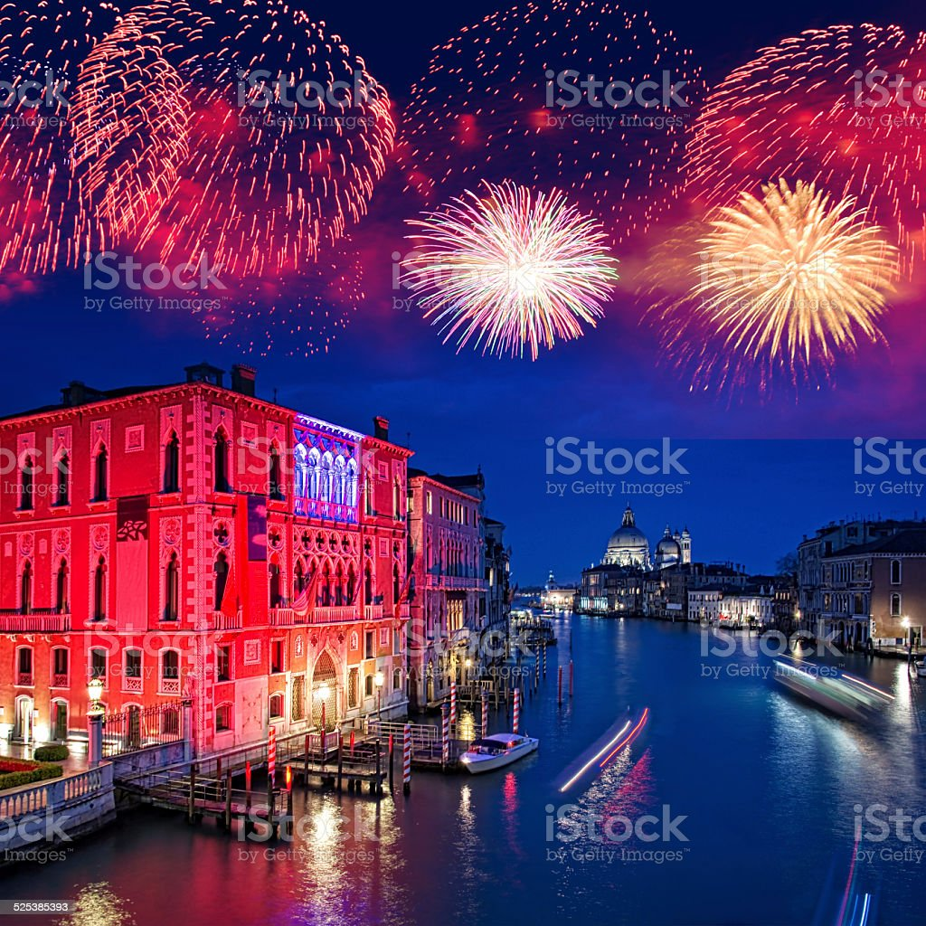 Fireworks over the Grand Canal of Venice by night, Italy stock photo