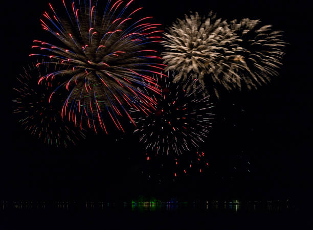 Fireworks over the pond 2 Fireworks after open air classic concert erlangen stock pictures, royalty-free photos & images