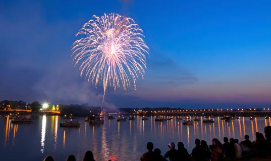 Fireworks over the Susquehanna River at Harrisburg,Pennsylvania.