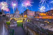 istock Fireworks over the Trajan Forum in Rome at night, Italy 1182213898