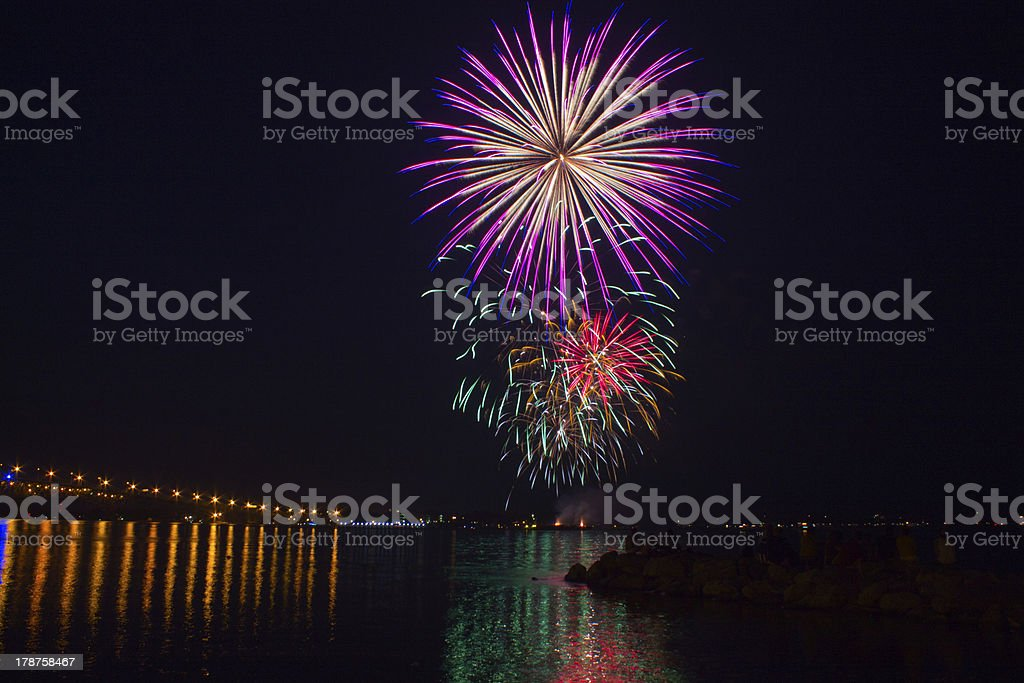 Fireworks over the York River royalty-free stock photo
