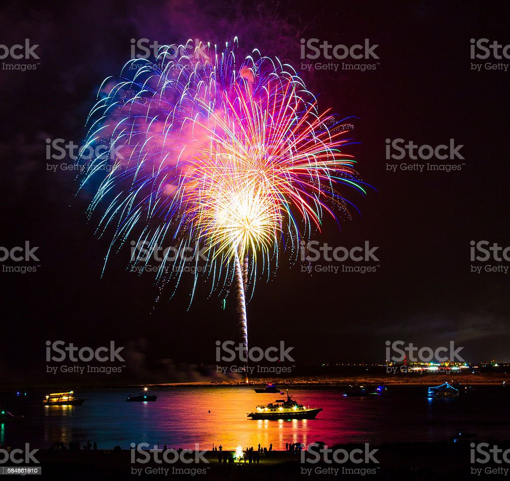Fireworks over Water stock photo