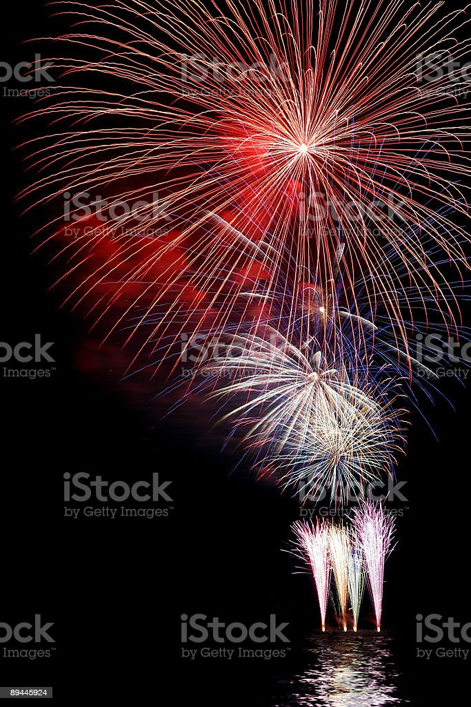 Fireworks over Water royalty-free stock photo
