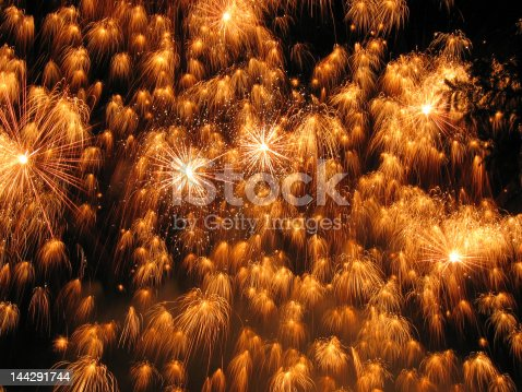 Photo of competitive fireworks show. Leading firework companies from all over the world competing against each other with a 10 minute firework display choreographed to music.
