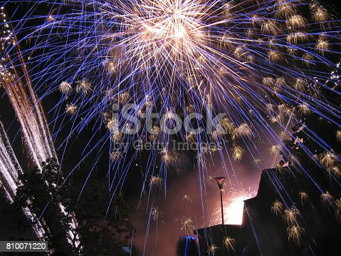 Photo of competitive fireworks show.