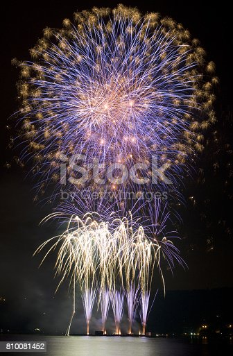 Photo of competitive fireworks show on the water reservoir.